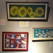 にしかわ ひろみ「向日葵 Ⅲ」「十二支」「羊雲」絵画