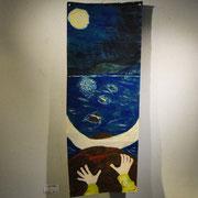 稲見 明子「カカラビタの夜〜水牛に乗って国境の河を渡る〜」絵画
