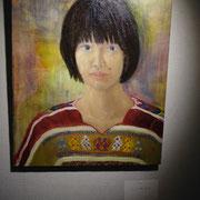 高橋 えり「ウィピルを着た自画像」油彩