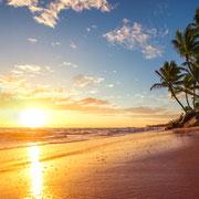 BG 35 Sonnenuntergang am Strand mit Palmen