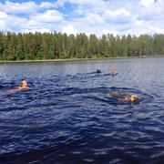Ein wohltuendes Bad mit den Hunden in Lapplands Gewässern