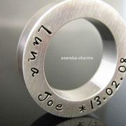 Massiver Sterlingsilber-Ring mit Gravur von Name & Datum, z.B. zur Geburt