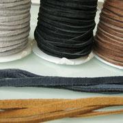 Wildlederband, Länge: ca. 90-100 cm, Farben: grau, schwarz, dunkelbraun, blau und hellbraun