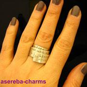 Breiter Poetry-Ring mit persönlichem Zitat / Gedicht (Sterlingsilber)