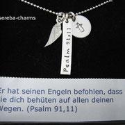 Silberkette zur Konfirmation / Firmung / Kommunion mit Schutzengel + Flügel sowie Psalm und Name