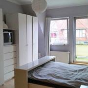 Wohnbeispiel Schlafzimmer eines privaten Messeapartments zur CEBIT über 4yourfairs