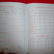 3,4ページめ。左は今年の目標や応援メッセージ欄。右はがんばりポイント集計欄。