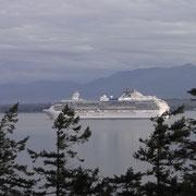 Passagierschiff von der Terrasse der Lodge