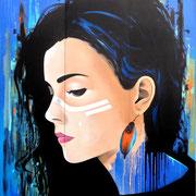 """220x180cm. Acrylic and spray paint on wood. """"Plume"""" 2016"""