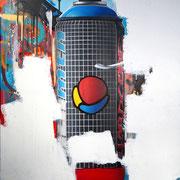 "100x80cm.  Acrylic and spray paint on canvas. ""Hardcore"" 2017"