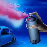 """60x80 cm. Acrylic and spray paint on canvas. """"Aérosol"""" 2014"""