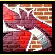 "100x100cm. Spray paint on brick. ""E"" 2016"