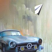 "90x70cm. Acrylic and spray paint on canvas. ""Benz"" 2016"