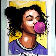 "103x70cm. Acrylic and spray paint on wood. ""Bubble gum"" 2017"
