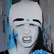 """92x73cm. Acrylic and spray paint on canvas. """"3"""" 2016"""