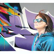 """112x152cm. Acrylic and spray paint on canvas. """"Blan"""" 2018"""