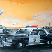 "116x89cm. Acrylic and spray paint on canvas. ""Cops"" 2015."