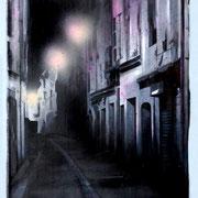 "120x69 cm. Acrylic and spray paint on canvas. ""Night"" 2014"