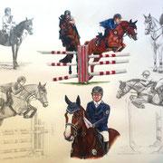 Collage, Bleistift und Aquarell (Auftragsarbeit)
