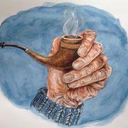 Hand mit Pfeife, Aquarell (Auftragsarbeit)