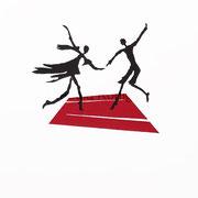 Linoldruck - Ich lobe den TanzIII - Motiv-Größe von ca: 34x30 cm (HxB) - Blatt:  70 x 50 cm