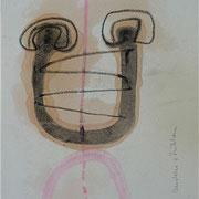 """""""Denken+Fühlen"""", 1991, Kreide, Kohle, Tusche auf Achatpapier, zu:""""Fühlen und Denken"""