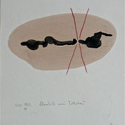 """""""Ähnlich wie Tolstoi,"""" 1991, Kreide, Tusche auf Achatpapier, zu:""""Fühlen und Denken"""""""