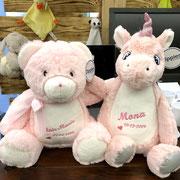 Musterbeispiel Babybär rosa und Einhorn mit Stickerei