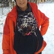 5  Wintertasche außen Baumwolle sw und innen Fellimitat sw.weiß/ Stoff ausverkauft
