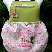 4 Sommertasche außen Baumwolle Röschen und innen Baumwolle grün / Stoff ausverkauft