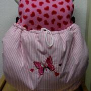 15 Sommertasche außen rosa kariert Baumwolle / innen Fleece rosa mit Herzchen / Stoff ausverkauft