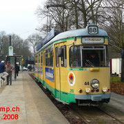 GT6 Nr. 44 an der Endstation am S-Bahnhof Friedrichshagen.