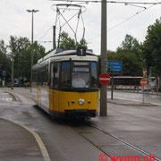 Die von Stuttgart übernommen. Kurzgelenktriebwagen GT4 (Typ Esslingen) sind heute nicht mehr im Betrieb, Nr. 1 am  Ulmer Hauptbahnhof.