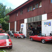Verschiedene Minis und ein Jaguar E - Type S I Cabrio