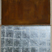 I Love a Sunburnt Country Metal pigment paint and metal leaf on raw linen 122 x 92 cm
