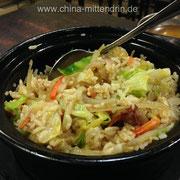 Ja, man konnte es essen. Aber der Bao Zai Fan (煲仔饭) im Restaurant in Xiamen ist um Klassen besser. Diesen hier aßen wir übrigens in einem Hunan-Restaurant in Peking.