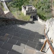 Die Chinesische Mauer bei Juyongguan (居庸关). Ja, es ist wirklich so steil!