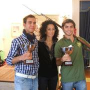 """I vincitori e """"Veterani"""" del torneo: Edoardo Plescia (Gaeta) e Gabriele Tabacchini (Gaeta), premiati dalla signora Rita Schiappelli, una discendente del col. Ignazio Spadetta e madrina della manifestazione"""