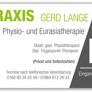 Firmenschild, Physiotherapiepraxis Gerd Lange >> Company Sign