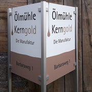 Firmenschild, Ölmühle Kerngold >> Company Sign