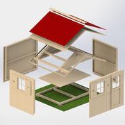 >> Gartenhaus, Bausatz System, 3D CAD  >> Garden house assembly kit, 3D CAD