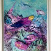 Farbenmagie - Vogelfrei 40x30cm inkl. Schattenrahmen