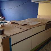 マンション リノベーション システムキッチンの設置