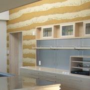 リノベーション H邸 キッチン背面薩摩霧島塗壁