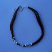 Horse Hair & Sterling Block Choker - SOLD