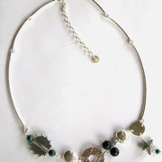 "Liffies ""Medley"" Neclace, Malachite, Dumorite & Silver - SOLD"