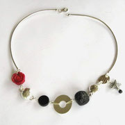 """Medley"" Necklace, Onyx, Red Coral & Black Stone - SOLD"