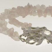 Abstract Sterling & Rose Quartz Necklace - SOLD