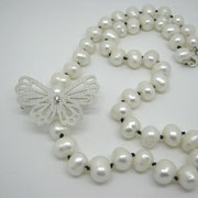 Louie - Stg Sil Butterfly Hair Clip with Diamond & Pearl Strand - SOLD