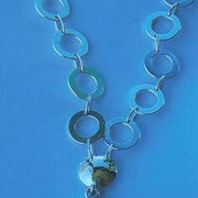 Sterling Silver Washer Necklace with Jade - SOLD